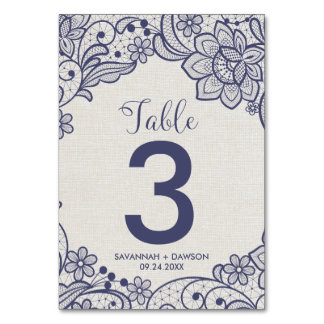 Burlap and Navy Lace | Floral Wedding Table Number