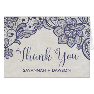 Burlap and Navy Lace | Floral Wedding Thank You Card