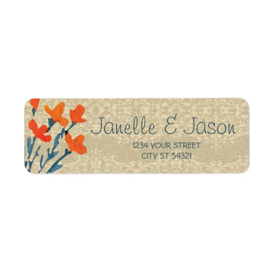 Burlap and Orange Flowers, Address Labels