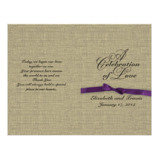 Burlap and Purple Bow Wedding Program