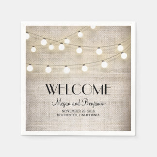 Burlap and String Lights Rustic Country Disposable Napkin