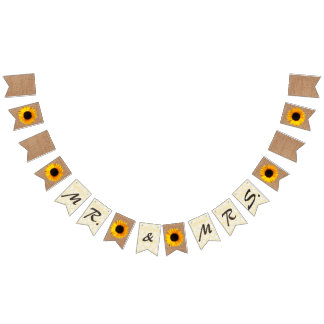 Burlap and Sunflowers Wedding Bunting Bunting Flags