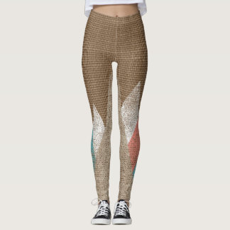 Burlap and Triangle Geometric Legging