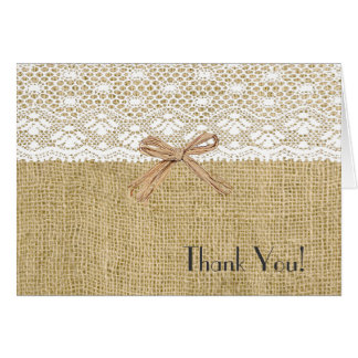 Burlap and White Lace Baby Shower Thank You Card