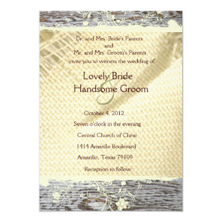 Burlap and Wood Country Wedding Invitation