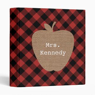 Burlap Apple Buffalo Plaid Teacher 3 Ring Binder