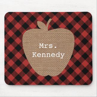 Burlap Apple Buffalo Plaid Teacher Mouse Pad