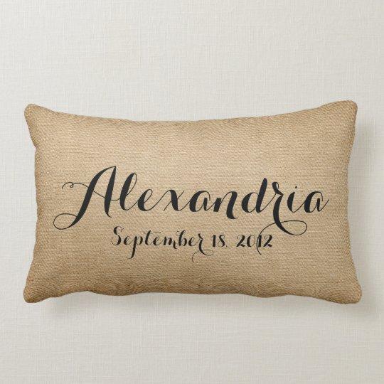 Burlap Baby Birth Date Name Heaven Sent Lumbar Pillow