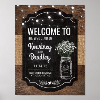 Burlap Baby Breath Wooden Wedding   Hashtag Poster