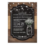 "Burlap Baby Breath Wooden Wedding | Mason Jar 5"" X 7"" Invitation Card"