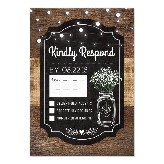 Burlap Baby Breath Wooden Wedding | Mason Jar RSVP Card