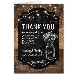 Burlap Baby Breath Wooden Wedding | Thank You Card