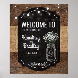 Burlap Baby Breath Wooden Wedding Welcome Poster