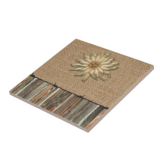 Burlap Barnwood Lace Barbed Wire And Tan Flower Ceramic Tile