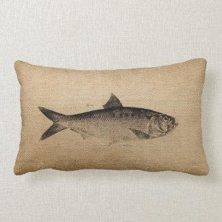 Burlap Big Fish Lumbar Pillow