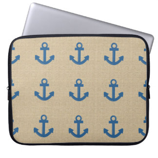 Burlap blue anchor laptop sleeve