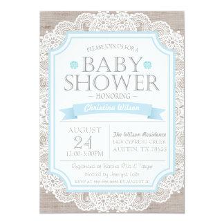 Burlap Blue & Lace Baby Shower Invitation
