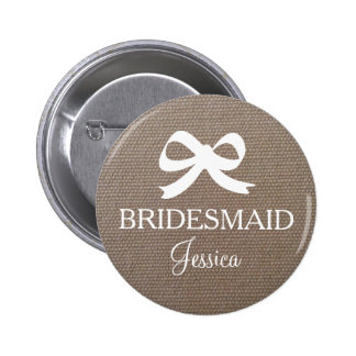 Burlap bridesmaid button for country wedding party