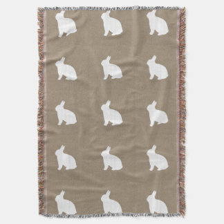 Burlap Bunny Throw Blanket