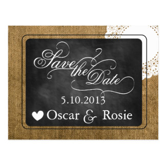 Burlap, chalkboard, and Doily Save the Date Postcard