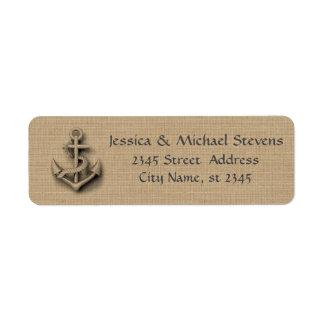 Burlap chic rustic wedding nautical anchor return address label