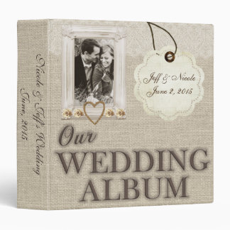 Burlap Country Couple Photo Wedding Photo Album Vinyl Binder