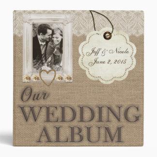 Burlap Country Couple Photo Wedding Photo Album Vinyl Binders