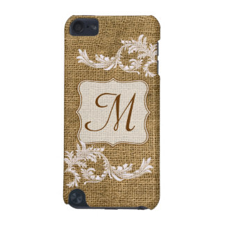 Burlap Country Lace Monogram Initial IPOD Touch iPod Touch (5th Generation) Cases
