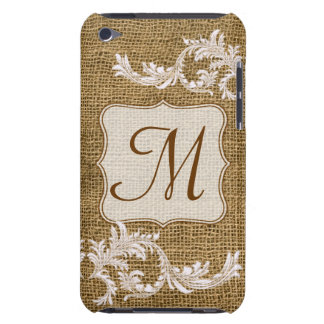 Burlap Country Lace Monogram Initial IPOD Touch iPod Touch Cases