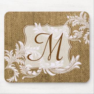 Burlap Country Lace Monogram Initial Mouse Pad