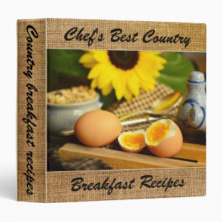 Burlap Country Personalized Recipe Binder