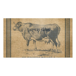 burlap cow feed sack business cards