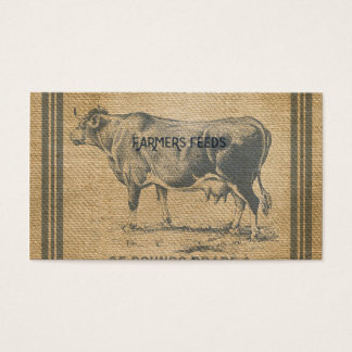 burlap cow feed sack business card