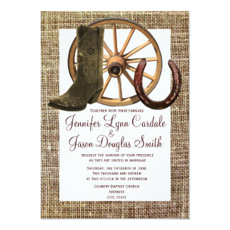 Burlap Cowboy Boots Wagon Wheel Horseshoe Wedding Card