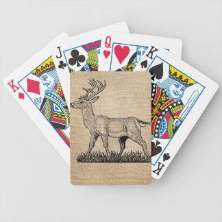 Burlap Deer Buck Horns Rustic  Background Bicycle Playing Cards