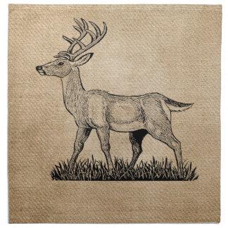 Burlap Deer Buck Horns Rustic Background Printed Napkins
