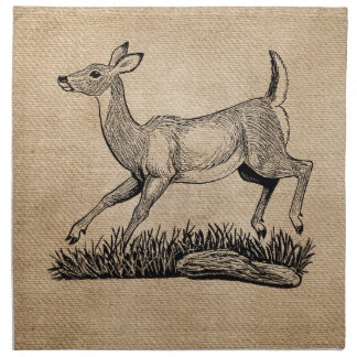 burlap deer doe rustic napkins