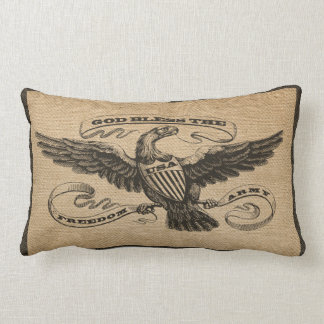 Burlap Eagle God Bless USA ARMY Lumbar Pillow