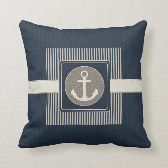 Burlap Effect Nautical Ship's Anchor Striped Throw Pillow