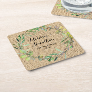 Burlap Floral Chalkboard Coaster Mat Wedding Party
