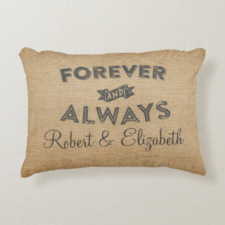Burlap Forever and Always WEdding Accent Pillow