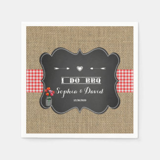 Burlap Gingham and Chalkboard I DO BBQ Custom Disposable Napkin