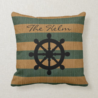 Burlap Green & Tan Stripes with Silhouette Helm Throw Pillow