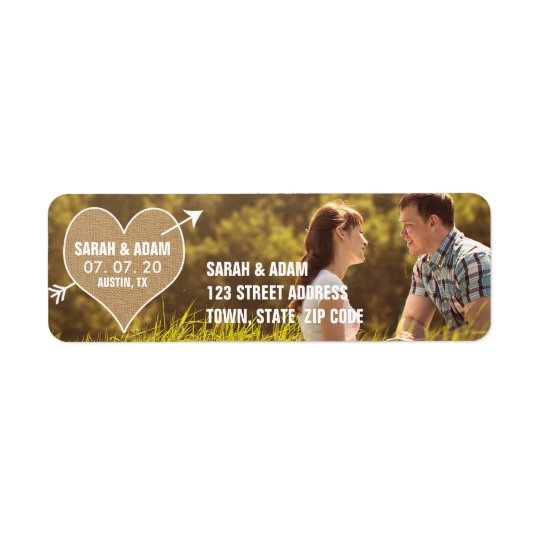 Burlap Heart | Rustic Save the Date Address Label