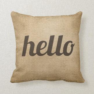 Burlap Hello See Ya Throw Pillow