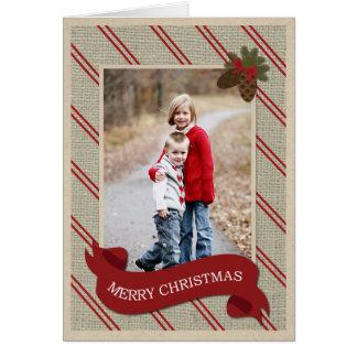 Burlap Holiday Christmas Card