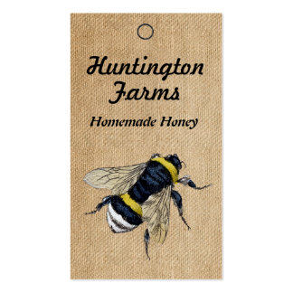 Burlap Honey Bee Price Tag Business Cards