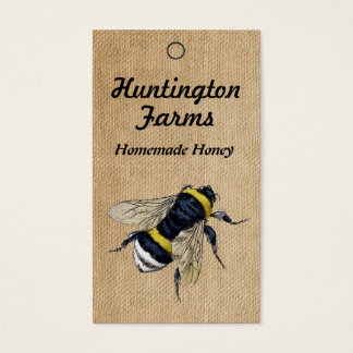 Burlap Honey Bee Price Tag Business Card