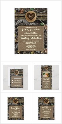 Burlap + Hunting Camo Wedding Invitations