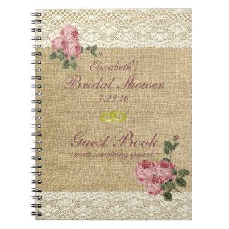 Burlap Image Pink Roses Bridal Shower Guest Book